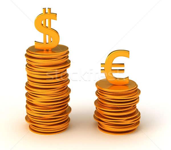 Dollaro valuta vantaggio euro bianco metal Foto d'archivio © Arsgera