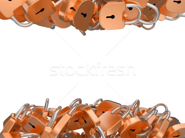 Locked padlocks: up and down isolated Stock photo © Arsgera
