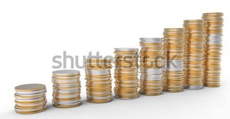 Financial Progress: golden and silver coins stacks Stock photo © Arsgera