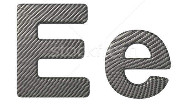 Carbon fiber font E lowercase and capital letters Stock photo © Arsgera