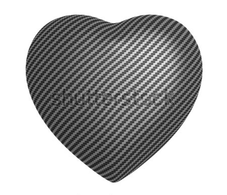 Stock photo: Carbon fibre heart shape isolated