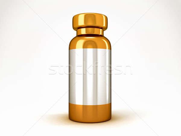 Geneeskunde gouden medische glas gezondheid fles Stockfoto © Arsgera