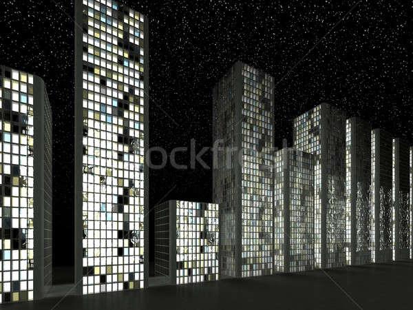 Megalópole abstrato moderno edifícios noite Foto stock © Arsgera