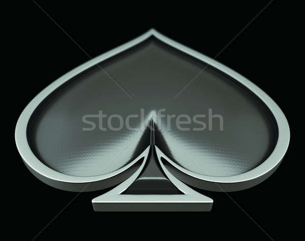Card suits: spades with gray framing over black Stock photo © Arsgera