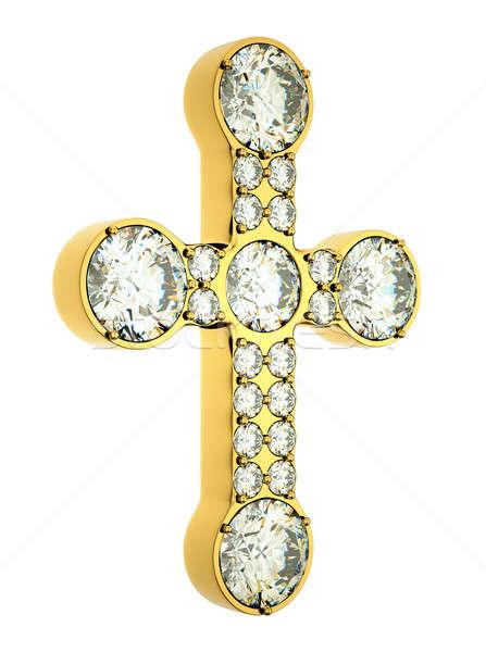 Religión moda dorado cruz diamantes aislado Foto stock © Arsgera
