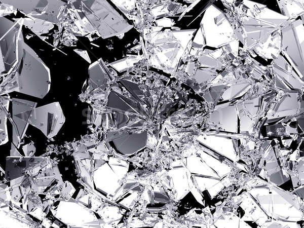 Demolished and Shattered glass over black Stock photo © Arsgera
