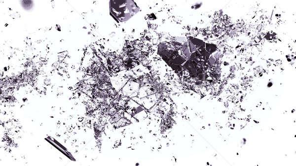 ピース 割れたガラス 白 抽象的な ストックフォト © Arsgera