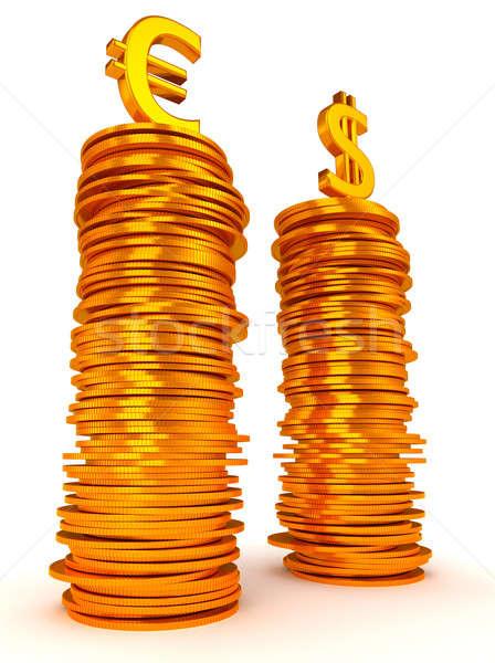 Euro dollár szimbólumok érmék arany fém Stock fotó © Arsgera