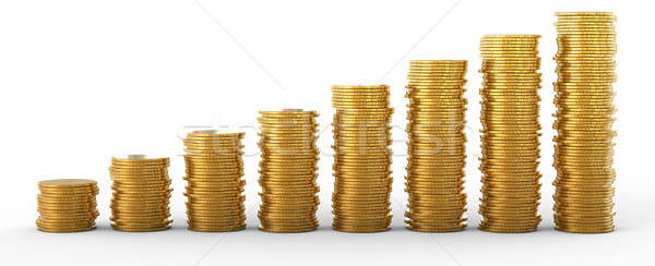 Stock photo: Progress and success: golden coins stacks