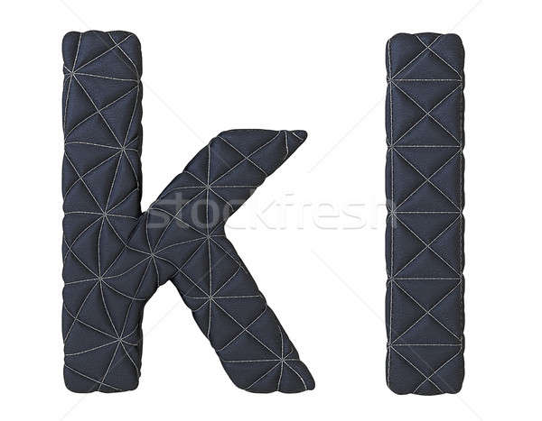 Lowercase stitched leather font k l letters Stock photo © Arsgera