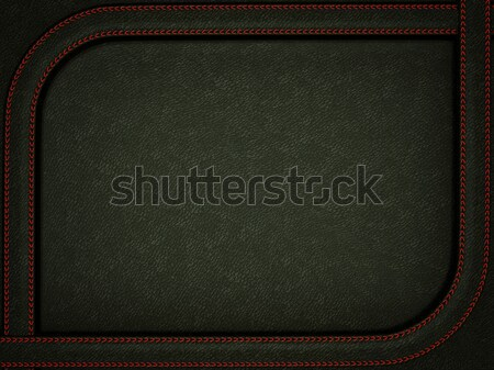 Black leather background with stitched red rounded frame Stock photo © Arsgera