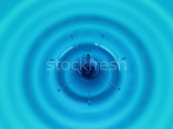 Drops and waves of blue fluid Stock photo © Arsgera