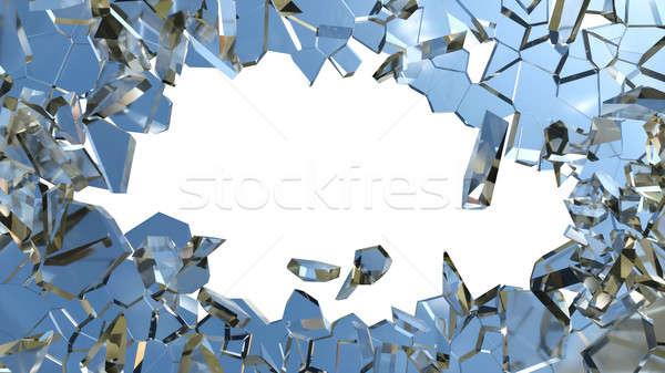 Blue smashed glass pieces isolated on white Stock photo © Arsgera