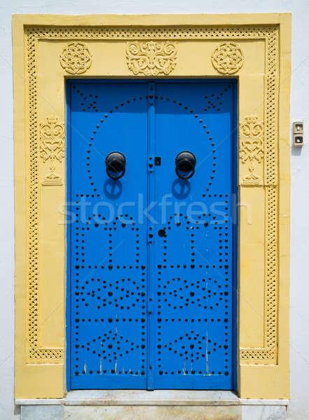 Azul porta ornamento Tunísia grande Foto stock © Arsgera