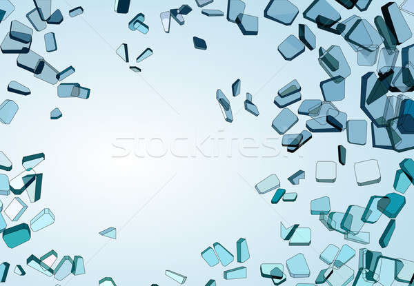 Pieces of demolished or Shattered blue glass Stock photo © Arsgera