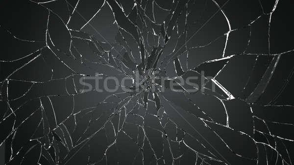 Sok darabok törött üveg fehér nagy döntés Stock fotó © Arsgera