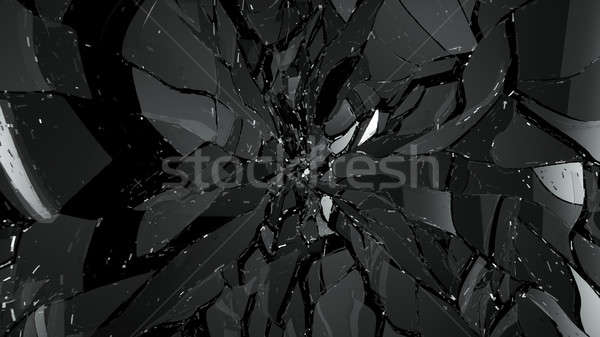 Stukken gebroken gebarsten glas zwarte groot Stockfoto © Arsgera