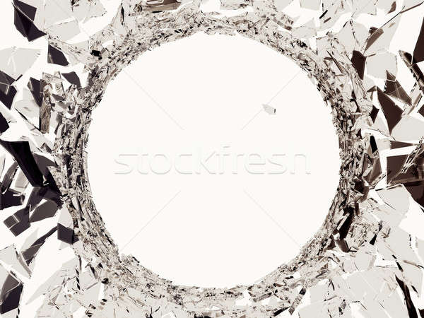 Demolished glass with sharp pieces and bullet hole Stock photo © Arsgera