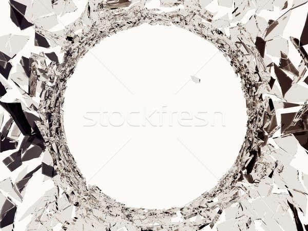 Szkła ostry sztuk dziura po kuli biały streszczenie Zdjęcia stock © Arsgera