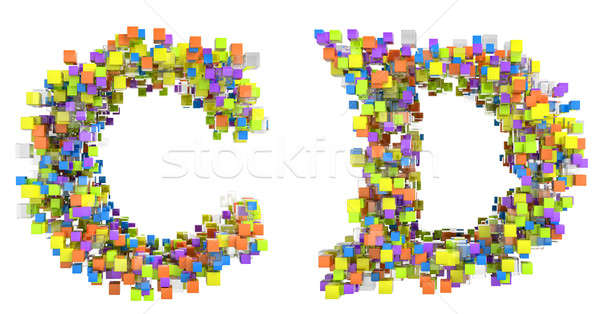 Abstract cubes font C and D letters isolated Stock photo © Arsgera