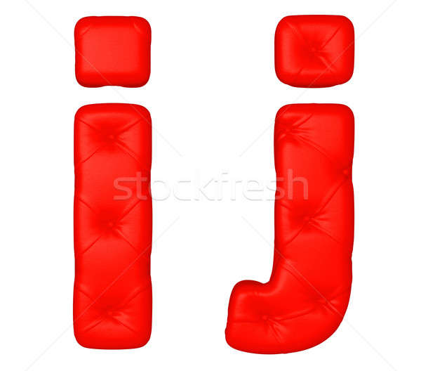 Stock photo: Luxury red leather font J I letters