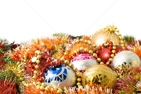 Beautiful Christmas decoration balls and colorful tinsel  Stock photo © Arsgera