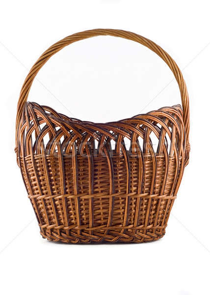 Big Wicker woven basket over white Stock photo © Arsgera