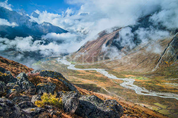 Autumn in Himalaya: village and river in the valley Stock photo © Arsgera
