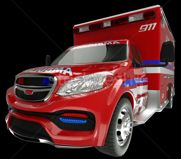 Emergency services vehicle: wide angle view of on black Stock photo © Arsgera