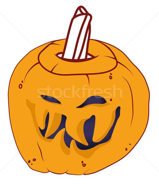 Smiley Malicious Halloween pumpkin isolated Stock photo © Arsgera