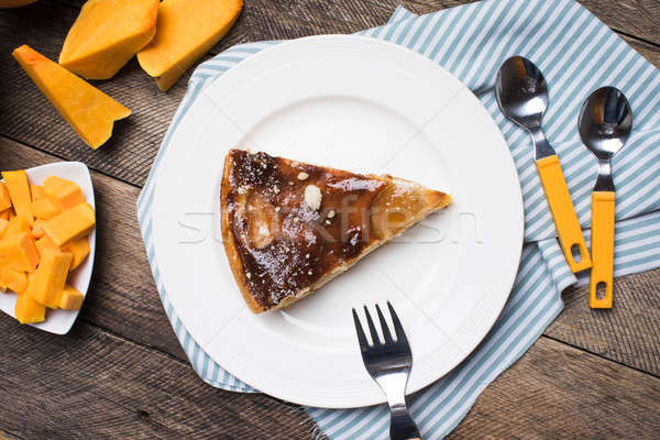 pieces of pumpkin and pie on plate in Rustic style Stock photo © Arsgera