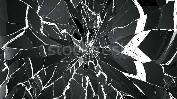 Pieces of splitted or cracked glass on white Stock photo © Arsgera