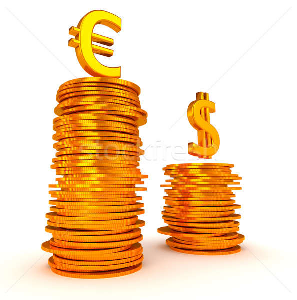 Golden Euro and Dollar symbols over coins stacks Stock photo © Arsgera