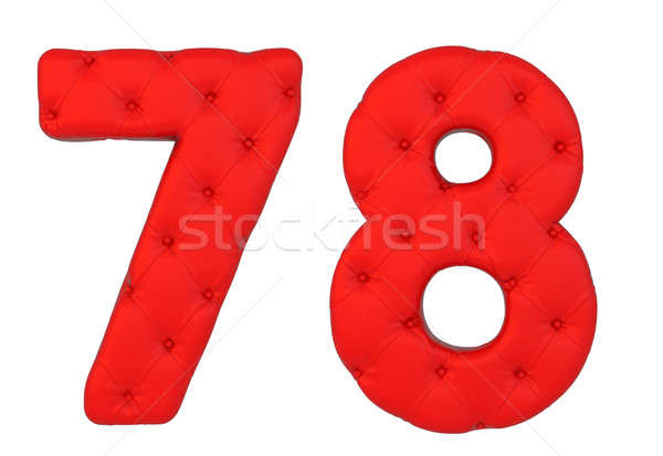 Stock photo: Luxury red leather font 7 8 numerals