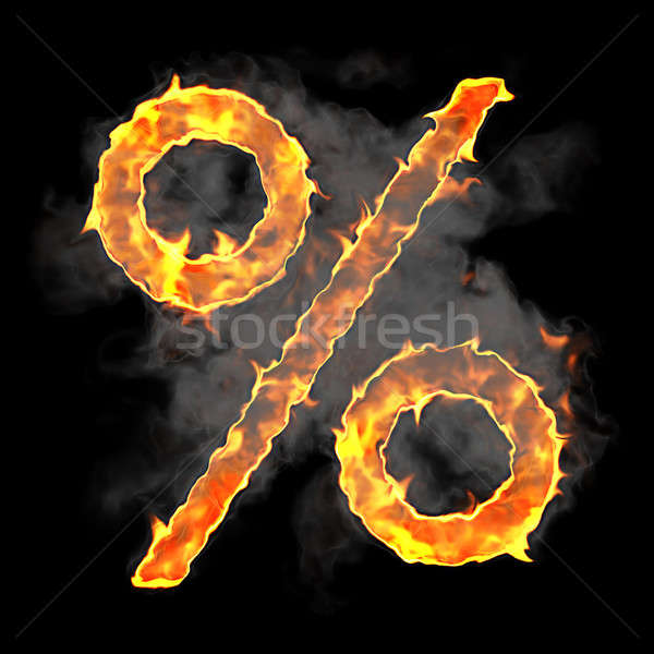 Burning and flame font percent symbol Stock photo © Arsgera