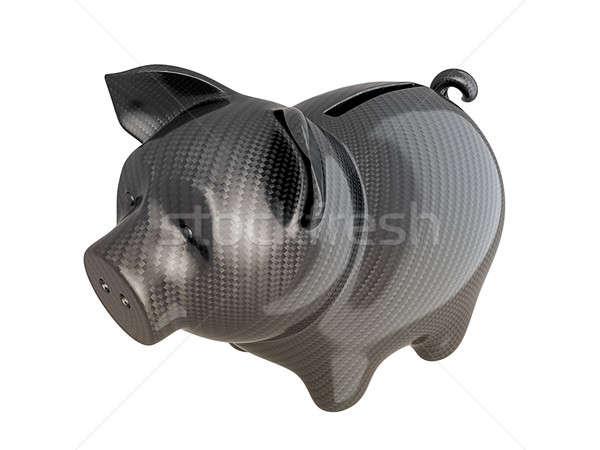 Fibra de carbono piggy bank confiável serviço isolado branco Foto stock © Arsgera