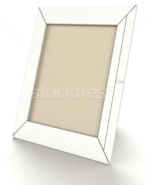 Empty leather photo frame on stand on white  Stock photo © Arsgera
