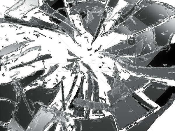 Broken and damaged glass isolated over white  Stock photo © Arsgera