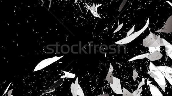 Quebrado vidro quebrado preto grande abstrato Foto stock © Arsgera