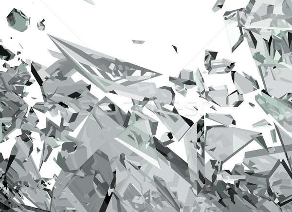 Demolished glass with sharp pieces on white Stock photo © Arsgera