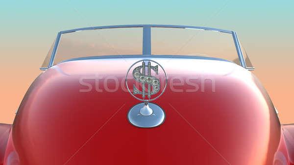 Hood and windscreen of red retro car Stock photo © Arsgera