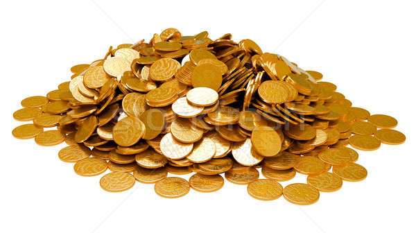 Ganancias dorado monedas aislado blanco Foto stock © Arsgera