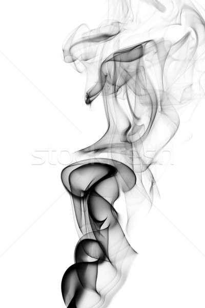 Black puff of abstract smoke on white Stock photo © Arsgera