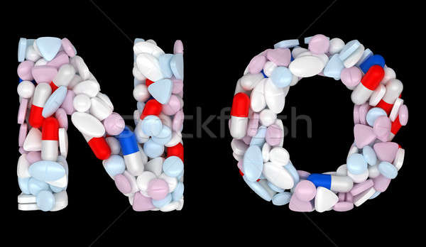 Medication font N and O pills letters Stock photo © Arsgera