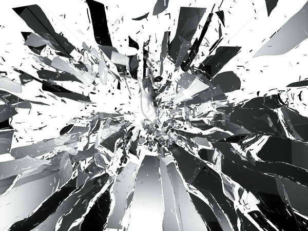 Shattered glass: sharp Pieces isolated Stock photo © Arsgera