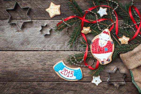 új év 2015 karácsony birka süti sütemény Stock fotó © Arsgera