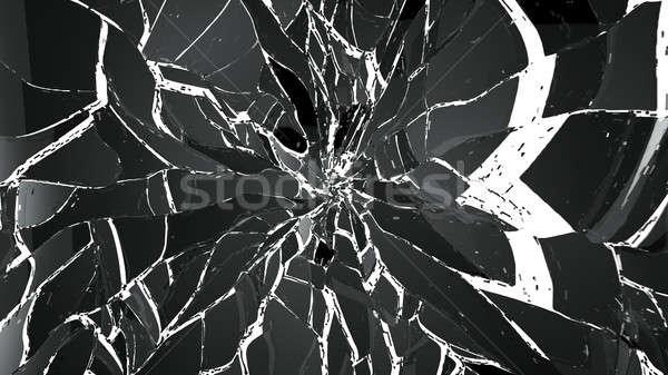 Peças vidro quebrado isolado branco grande Foto stock © Arsgera