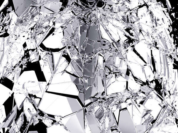 Stock photo: Pieces of Broken Shattered black glass isolated on black
