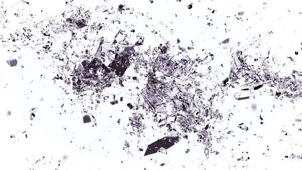 Pieces of shattered or cracked glass on white Stock photo © Arsgera