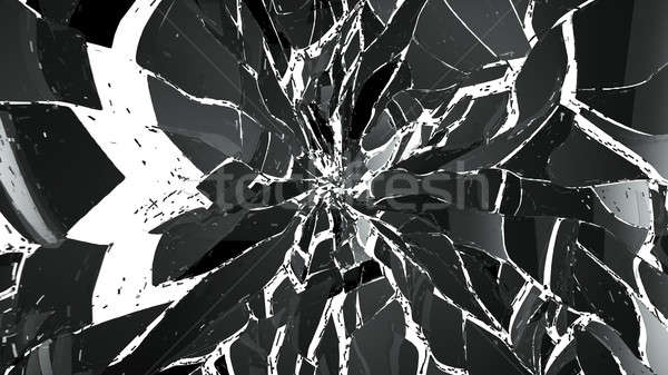 Pieces of splitted or cracked glass on white background Stock photo © Arsgera